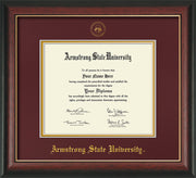 Image of Armstrong State University Diploma Frame - Rosewood w/Gold Lip - w/Embossed ASU Seal & Name - Maroon on Gold mat