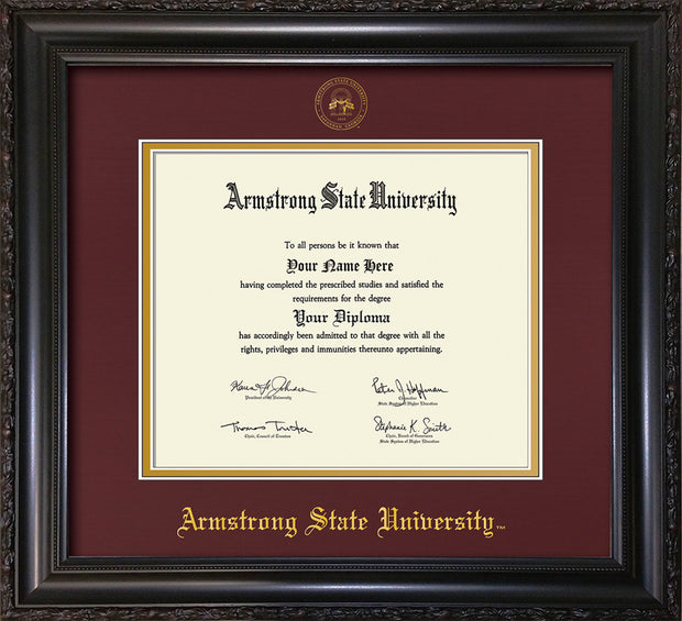 Image of Armstrong State University Diploma Frame - Vintage Black Scoop - w/Embossed ASU Seal & Name - Maroon on Gold mat