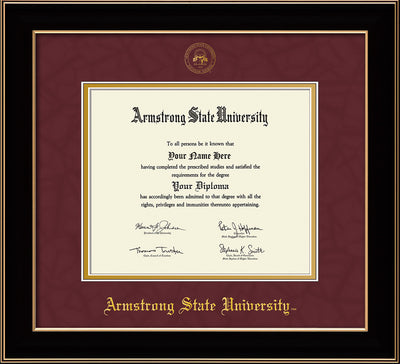 Image of Armstrong State University Diploma Frame - Black Lacquer - w/Embossed ASU Seal & Name - Maroon Suede on Gold mat