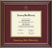 Image of Armstrong State University Diploma Frame - Cherry Lacquer - w/Embossed ASU Seal & Name - Maroon Suede on Gold mat