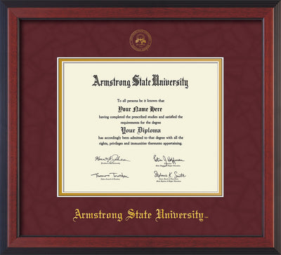 Image of Armstrong State University Diploma Frame - Cherry Reverse - w/Embossed ASU Seal & Name - Maroon Suede on Gold mat