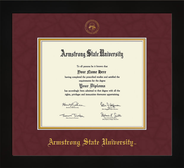Image of Armstrong State University Diploma Frame - Flat Matte Black - w/Embossed ASU Seal & Name - Maroon Suede on Gold mat