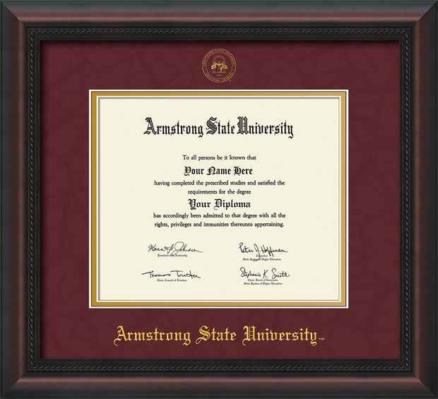 Image of Armstrong State University Diploma Frame - Mahogany Braid - w/Embossed ASU Seal & Name - Maroon Suede on Gold mat