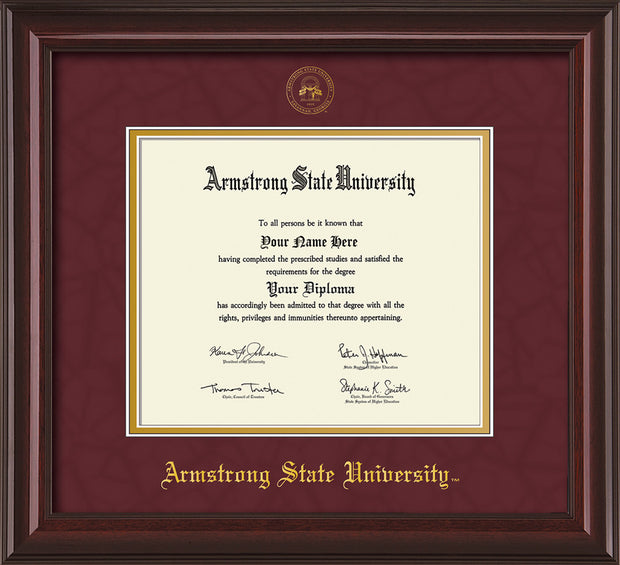 Image of Armstrong State University Diploma Frame - Mahogany Lacquer - w/Embossed ASU Seal & Name - Maroon Suede on Gold mat
