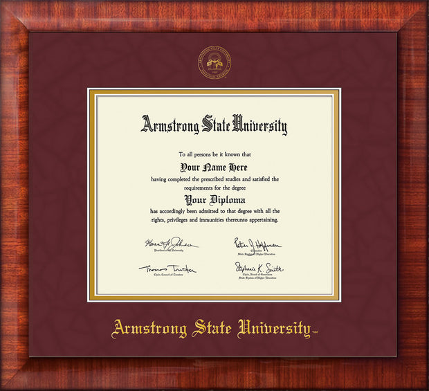 Image of Armstrong State University Diploma Frame - Mezzo Gloss - w/Embossed ASU Seal & Name - Maroon Suede on Gold mat