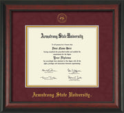 Image of Armstrong State University Diploma Frame - Rosewood - w/Embossed ASU Seal & Name - Maroon Suede on Gold mat