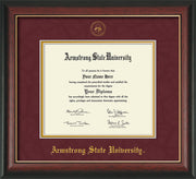 Image of Armstrong State University Diploma Frame - Rosewood w/Gold Lip - w/Embossed ASU Seal & Name - Maroon Suede on Gold mat