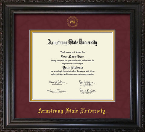 Image of Armstrong State University Diploma Frame - Vintage Black Scoop - w/Embossed ASU Seal & Name - Maroon Suede on Gold mat