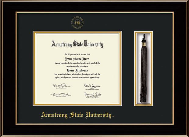 Image of Armstrong State University Diploma Frame - Black Lacquer - w/Embossed ASU Seal & Name - Tassel Holder - Black on Gold mat
