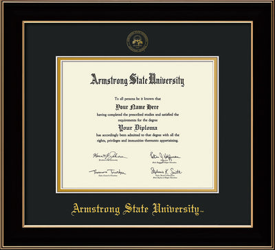 Image of Armstrong State University Diploma Frame - Black Lacquer - w/Embossed ASU Seal & Name - Black on Gold mat
