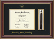 Image of Armstrong State University Diploma Frame - Cherry Lacquer - w/Embossed ASU Seal & Name - Tassel Holder - Black on Gold mat