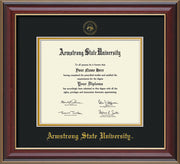 Image of Armstrong State University Diploma Frame - Cherry Lacquer - w/Embossed ASU Seal & Name - Black on Gold mat