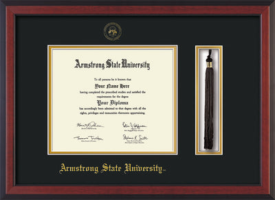 Image of Armstrong State University Diploma Frame - Cherry Reverse - w/Embossed ASU Seal & Name - Tassel Holder - Black on Gold mat