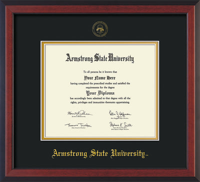 Image of Armstrong State University Diploma Frame - Cherry Reverse - w/Embossed ASU Seal & Name - Black on Gold mat