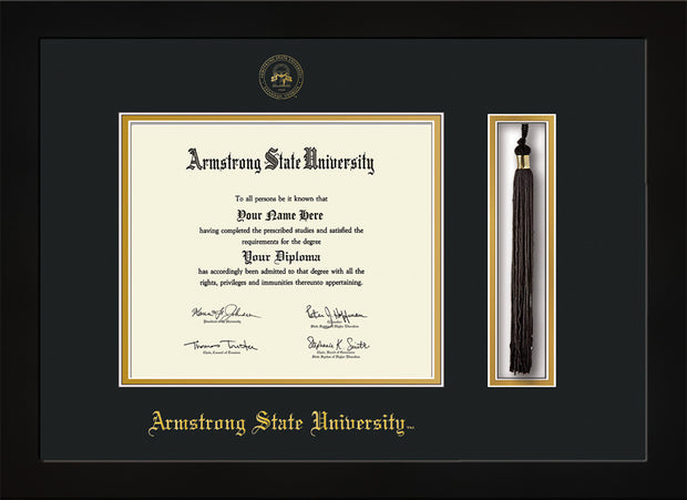 Image of Armstrong State University Diploma Frame - Flat Matte Black - w/Embossed ASU Seal & Name - Tassel Holder - Black on Gold mat