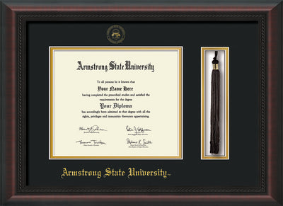 Image of Armstrong State University Diploma Frame - Mahogany Braid - w/Embossed ASU Seal & Name - Tassel Holder - Black on Gold mat