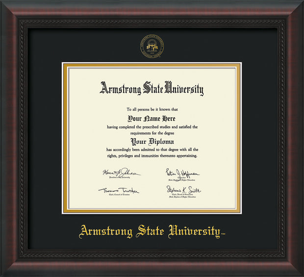 Image of Armstrong State University Diploma Frame - Mahogany Braid - w/Embossed ASU Seal & Name - Black on Gold mat