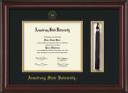 Image of Armstrong State University Diploma Frame - Mahogany Lacquer - w/Embossed ASU Seal & Name - Tassel Holder - Black on Gold mat