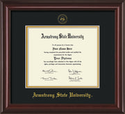 Image of Armstrong State University Diploma Frame - Mahogany Lacquer - w/Embossed ASU Seal & Name - Black on Gold mat