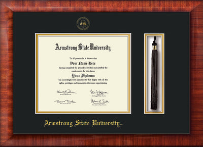 Image of Armstrong State University Diploma Frame - Mezzo Gloss - w/Embossed ASU Seal & Name - Tassel Holder - Black on Gold mat