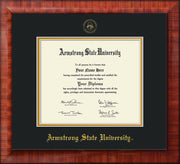 Image of Armstrong State University Diploma Frame - Mezzo Gloss - w/Embossed ASU Seal & Name - Black on Gold mat
