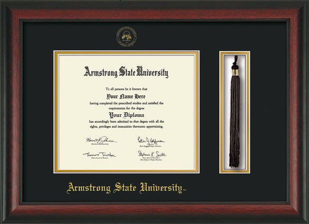 Image of Armstrong State University Diploma Frame - Rosewood - w/Embossed ASU Seal & Name - Tassel Holder - Black on Gold mat