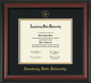 Image of Armstrong State University Diploma Frame - Rosewood - w/Embossed ASU Seal & Name - Black on Gold mat