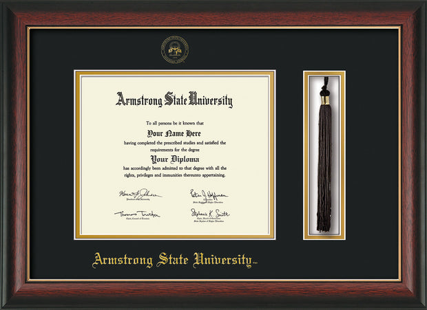 Image of Armstrong State University Diploma Frame - Rosewood w/Gold Lip - w/Embossed ASU Seal & Name - Tassel Holder - Black on Gold mat