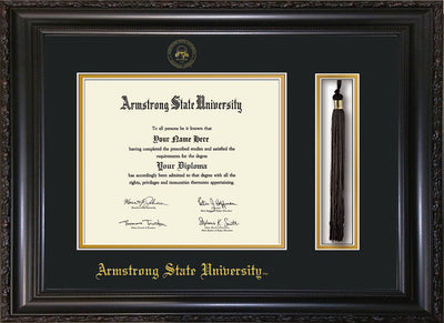 Image of Armstrong State University Diploma Frame - Vintage Black Scoop - w/Embossed ASU Seal & Name - Tassel Holder - Black on Gold mat