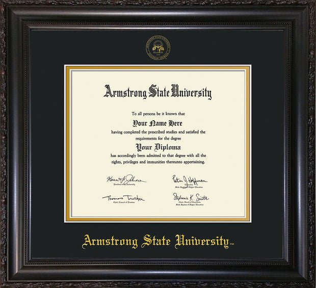 Image of Armstrong State University Diploma Frame - Vintage Black Scoop - w/Embossed ASU Seal & Name - Black on Gold mat