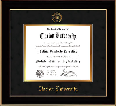 Image of Clarion University of Pennsylvania Diploma Frame - Black Lacquer - w/Embossed Seal & Name - Black Suede on Gold mat