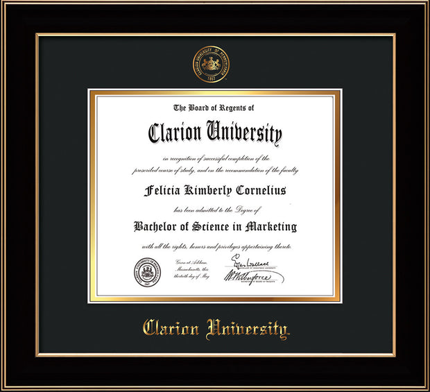 Image of Clarion University of Pennsylvania Diploma Frame - Black Lacquer - w/Embossed Seal & Name - Black on Gold mat