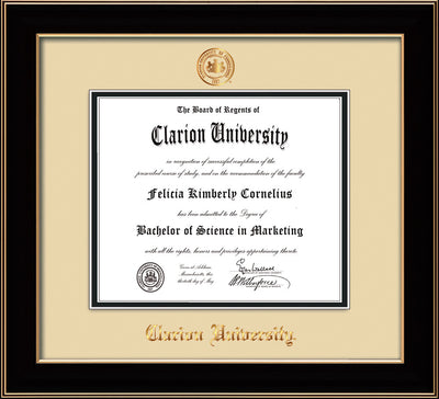 Image of Clarion University of Pennsylvania Diploma Frame - Black Lacquer - w/Embossed Seal & Name - Cream on Black mat