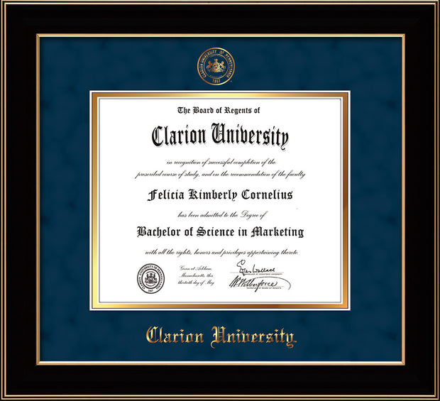 Image of Clarion University of Pennsylvania Diploma Frame - Black Lacquer - w/Embossed Seal & Name - Navy Suede on Gold mat
