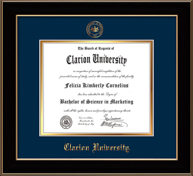 Image of Clarion University of Pennsylvania Diploma Frame - Black Lacquer - w/Embossed Seal & Name - Navy on Gold mat