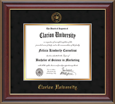 Image of Clarion University of Pennsylvania Diploma Frame - Cherry Lacquer - w/Embossed Seal & Name - Black Suede on Gold mat