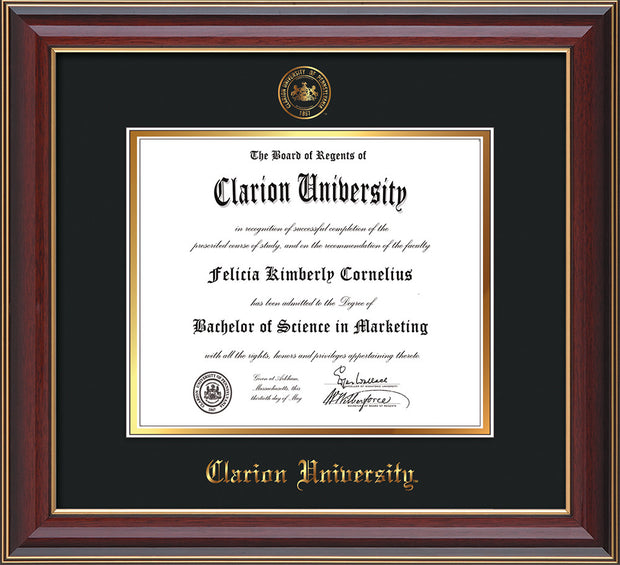 Image of Clarion University of Pennsylvania Diploma Frame - Cherry Lacquer - w/Embossed Seal & Name - Black on Gold mat