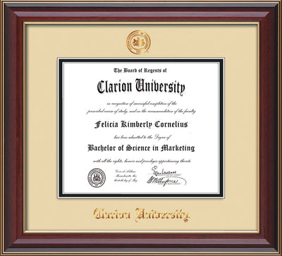 Image of Clarion University of Pennsylvania Diploma Frame - Cherry Lacquer - w/Embossed Seal & Name - Cream on Black mat