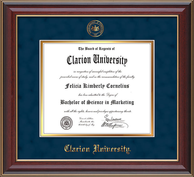 Image of Clarion University of Pennsylvania Diploma Frame - Cherry Lacquer - w/Embossed Seal & Name - Navy Suede on Gold mat