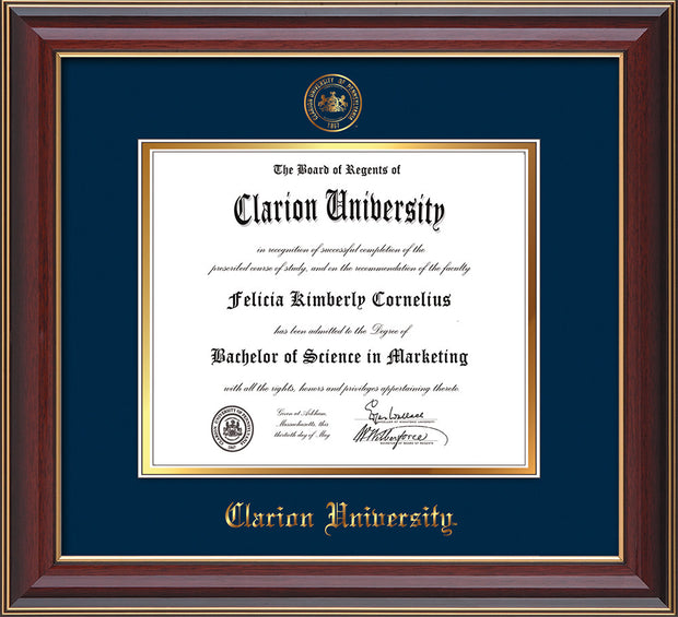 Image of Clarion University of Pennsylvania Diploma Frame - Cherry Lacquer - w/Embossed Seal & Name - Navy on Gold mat