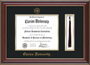 Image of Clarion University of Pennsylvania Diploma Frame - Cherry Lacquer - w/Embossed Seal & Name - Tassel Holder - Black on Gold mat