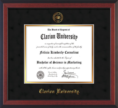 Image of Clarion University of Pennsylvania Diploma Frame - Cherry Reverse - w/Embossed Seal & Name - Black Suede on Gold mat