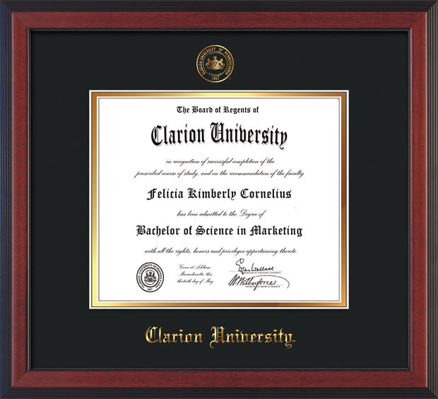 Image of Clarion University of Pennsylvania Diploma Frame - Cherry Reverse - w/Embossed Seal & Name - Black on Gold mat