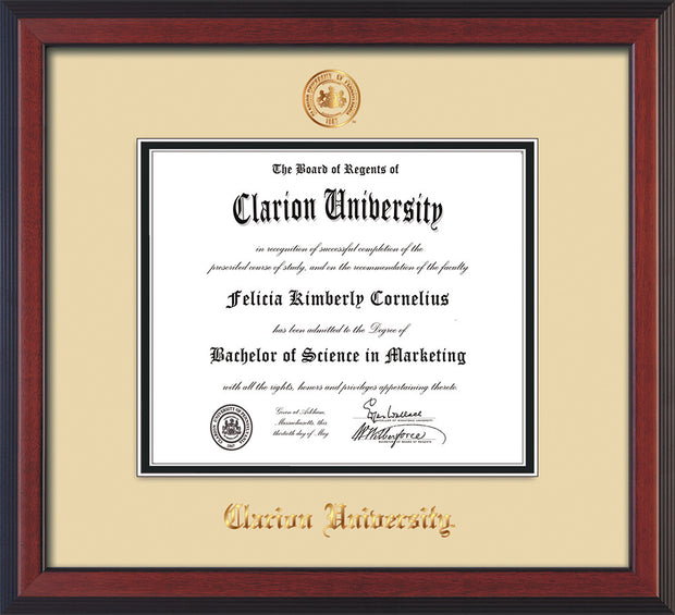 Image of Clarion University of Pennsylvania Diploma Frame - Cherry Reverse - w/Embossed Seal & Name - Cream on Black mat