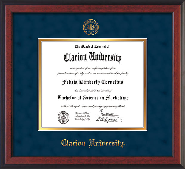 Image of Clarion University of Pennsylvania Diploma Frame - Cherry Reverse - w/Embossed Seal & Name - Navy Suede on Gold mat