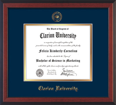 Image of Clarion University of Pennsylvania Diploma Frame - Cherry Reverse - w/Embossed Seal & Name - Navy on Gold mat