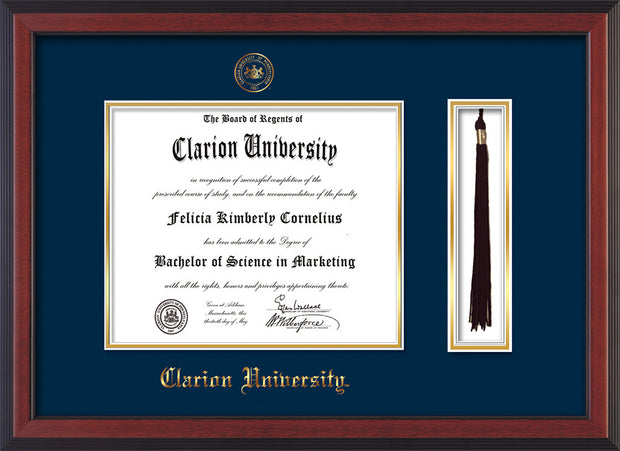 Image of Clarion University of Pennsylvania Diploma Frame - Cherry Reverse - w/Embossed Seal & Name - Tassel Holder - Navy on Gold mat