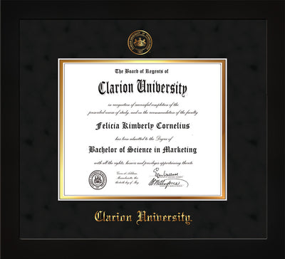 Image of Clarion University of Pennsylvania Diploma Frame - Flat Matte Black - w/Embossed Seal & Name - Black Suede on Gold mat