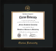 Image of Clarion University of Pennsylvania Diploma Frame - Flat Matte Black - w/Embossed Seal & Name - Black on Gold mat