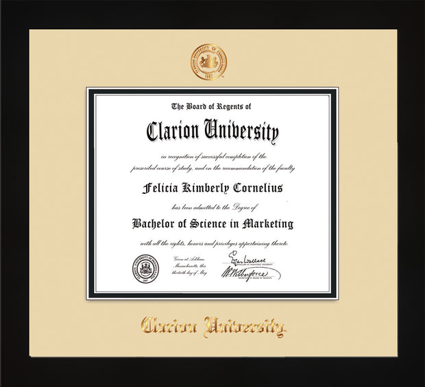 Image of Clarion University of Pennsylvania Diploma Frame - Flat Matte Black - w/Embossed Seal & Name - Cream on Black mat